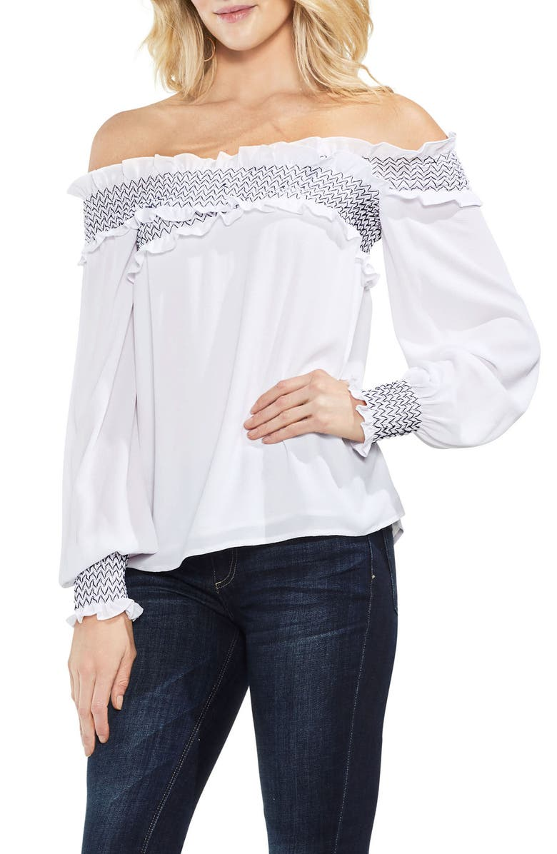 VINCE CAMUTO Smocked Cross Front Off the Shoulder Blouse, Main, color, 145