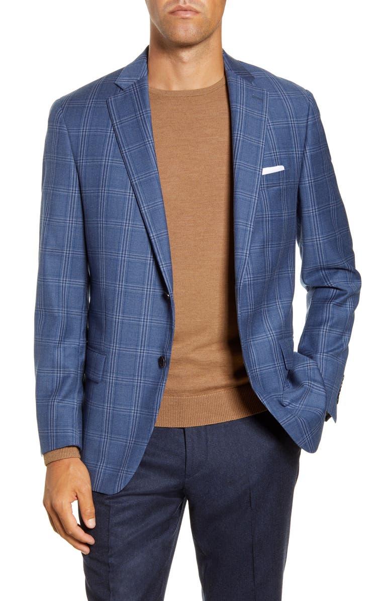 HART SCHAFFNER MARX Classic Fit Plaid Wool Sport Coat, Main, color, LIGHT BLUE