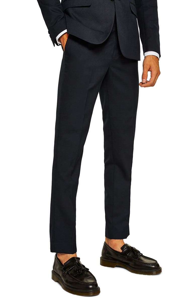 TOPMAN Skinny Fit Textured Dress Pants, Main, color, DARK BLUE