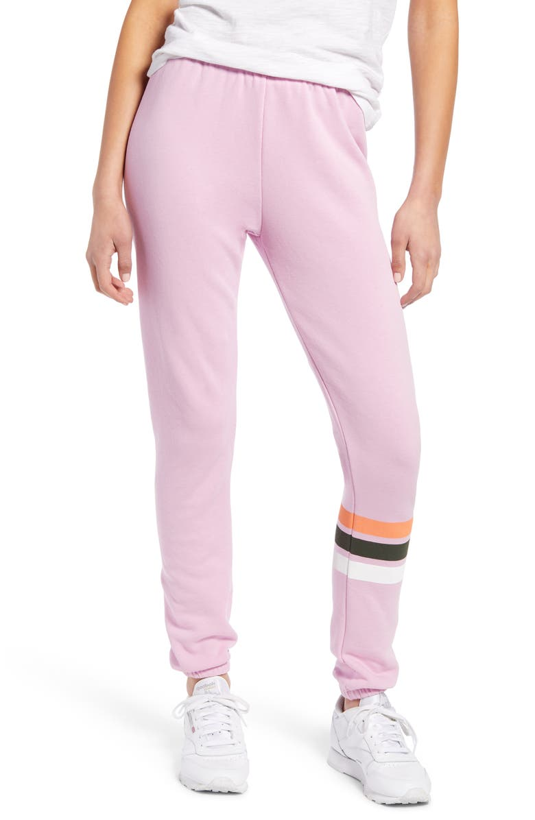 WILDFOX Knox Stripe Pants, Main, color, ORCHID