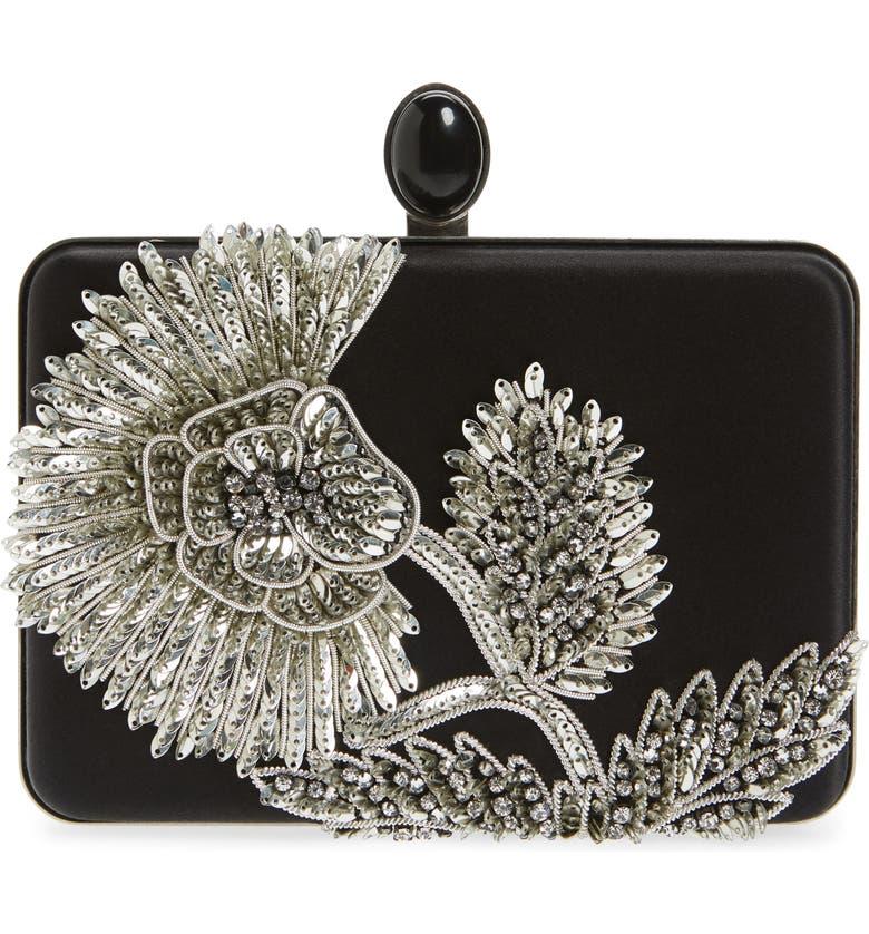 OSCAR DE LA RENTA Embellished Box Clutch, Main, color, BLACK/SILVER
