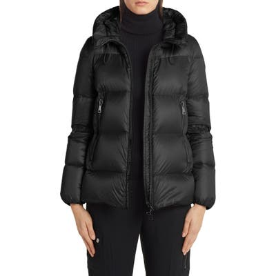 Moncler Serite Hooded Quilted Down Puffer Jacket, (fits like 8-10 US) - Black