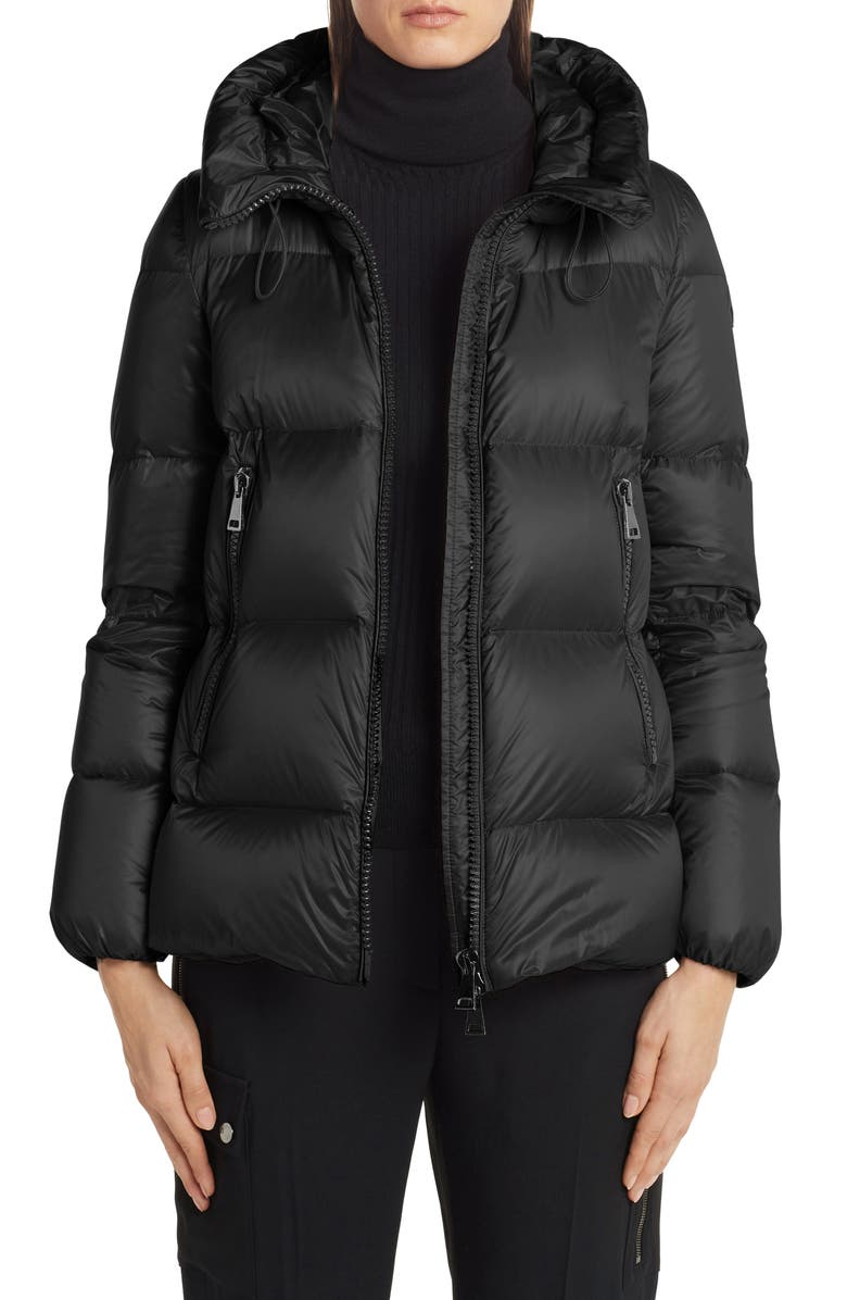 MONCLER Serite Hooded Quilted Down Puffer Jacket, Main, color, BLACK