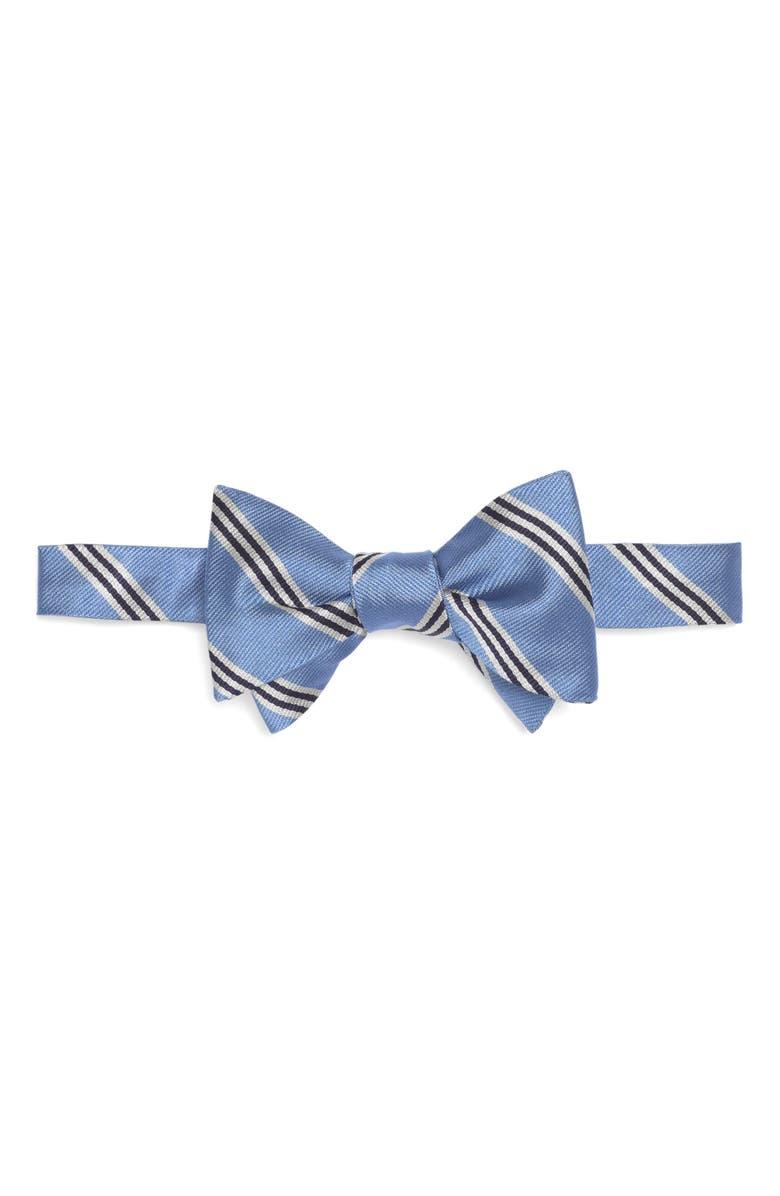 BROOKS BROTHERS Silk Stripe Bow Tie, Main, color, LIGHT/ PASTEL BLUE