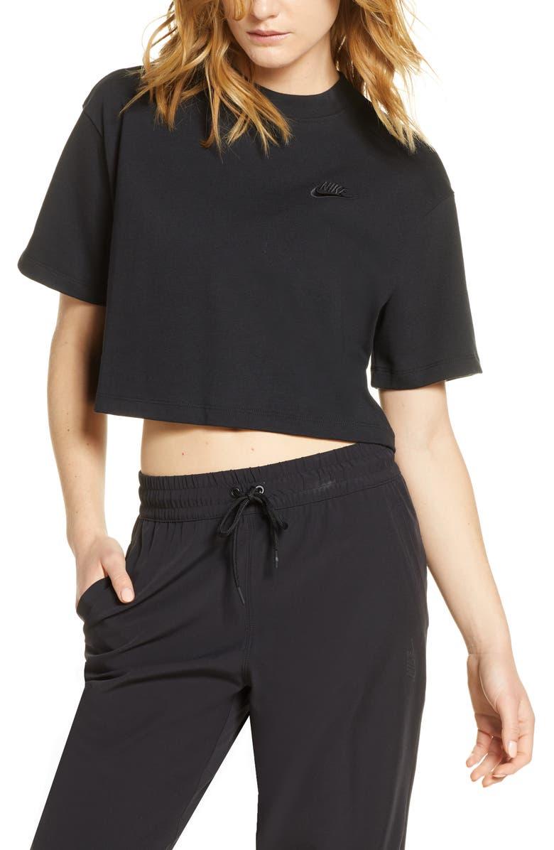 NIKE Sportswear Short Sleeve Jersey Crop Top, Main, color, 001