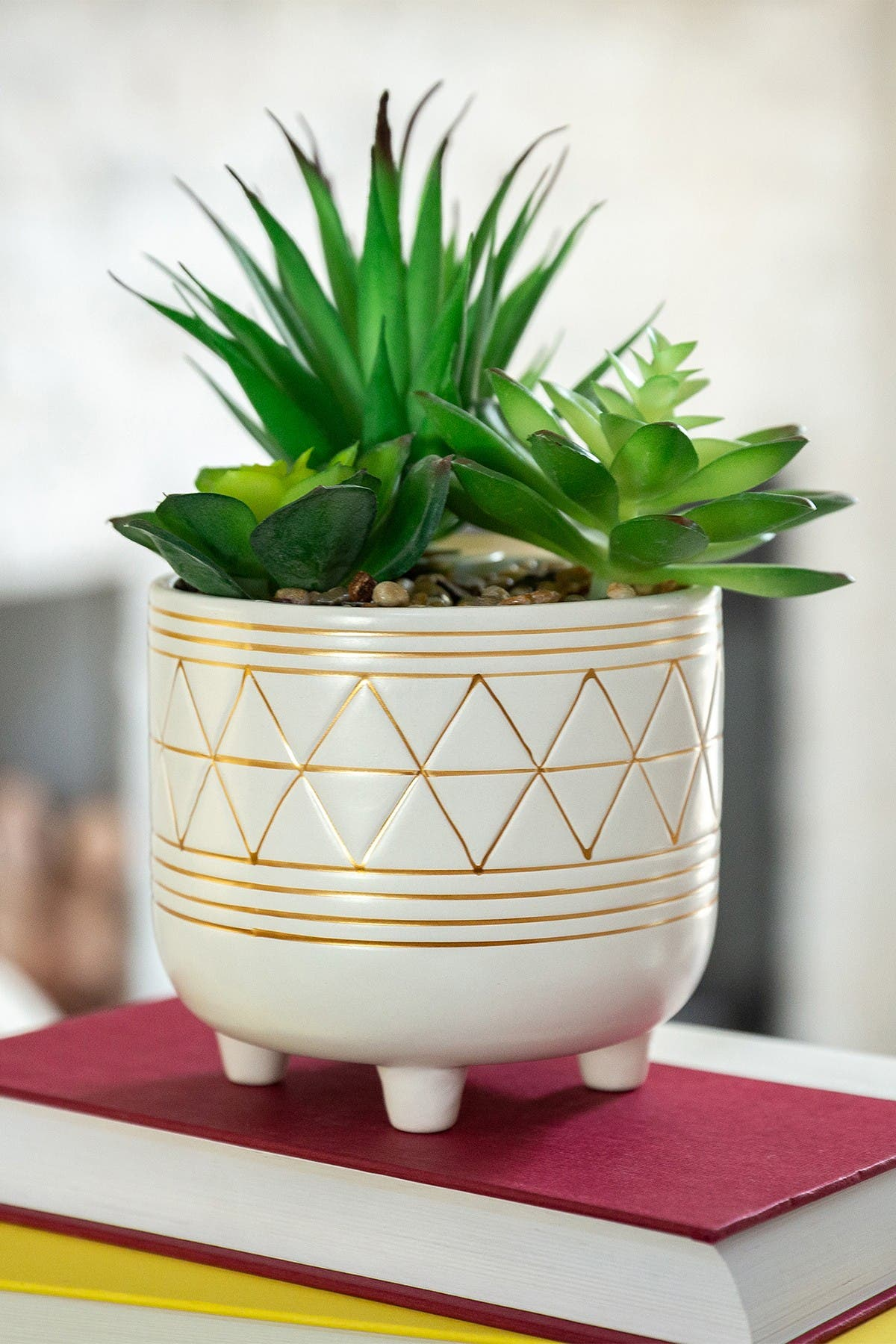 Image of FLORA BUNDA White/Gold Faux Geo Ceramic Planter