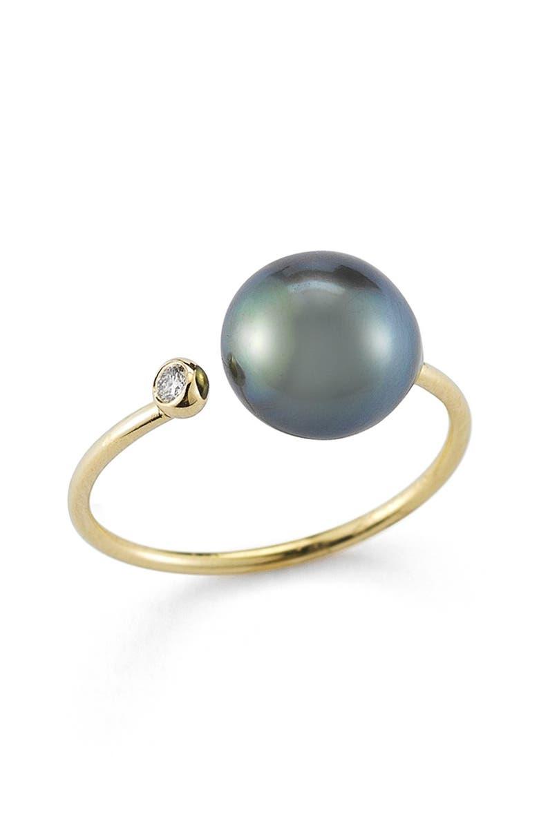 MIZUKI Diamond & Pearl Openwork Ring, Main, color, 001
