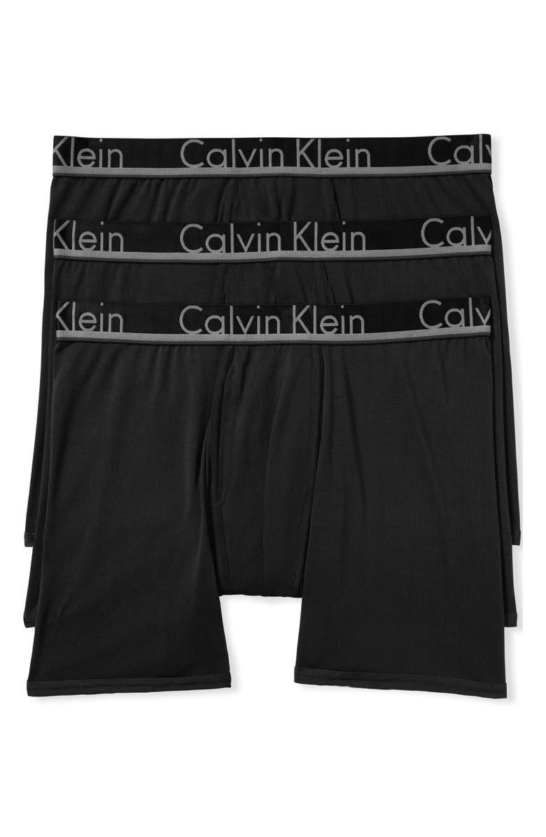 CALVIN KLEIN 3-Pack Comfort Microfiber Boxer Briefs, Main, color, BLACK