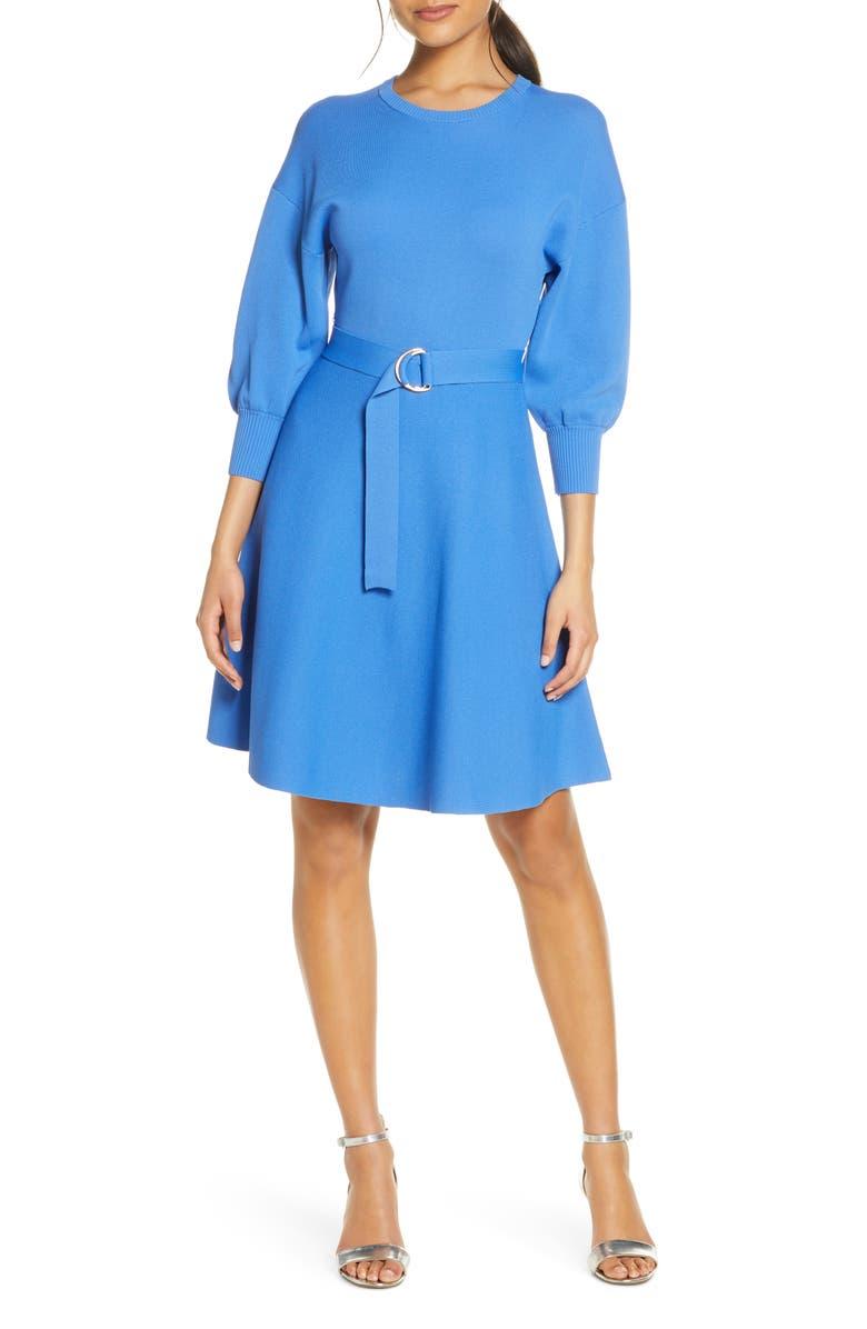 ELIZA J Bishop Sleeve Sweater Dress, Main, color, BLUE
