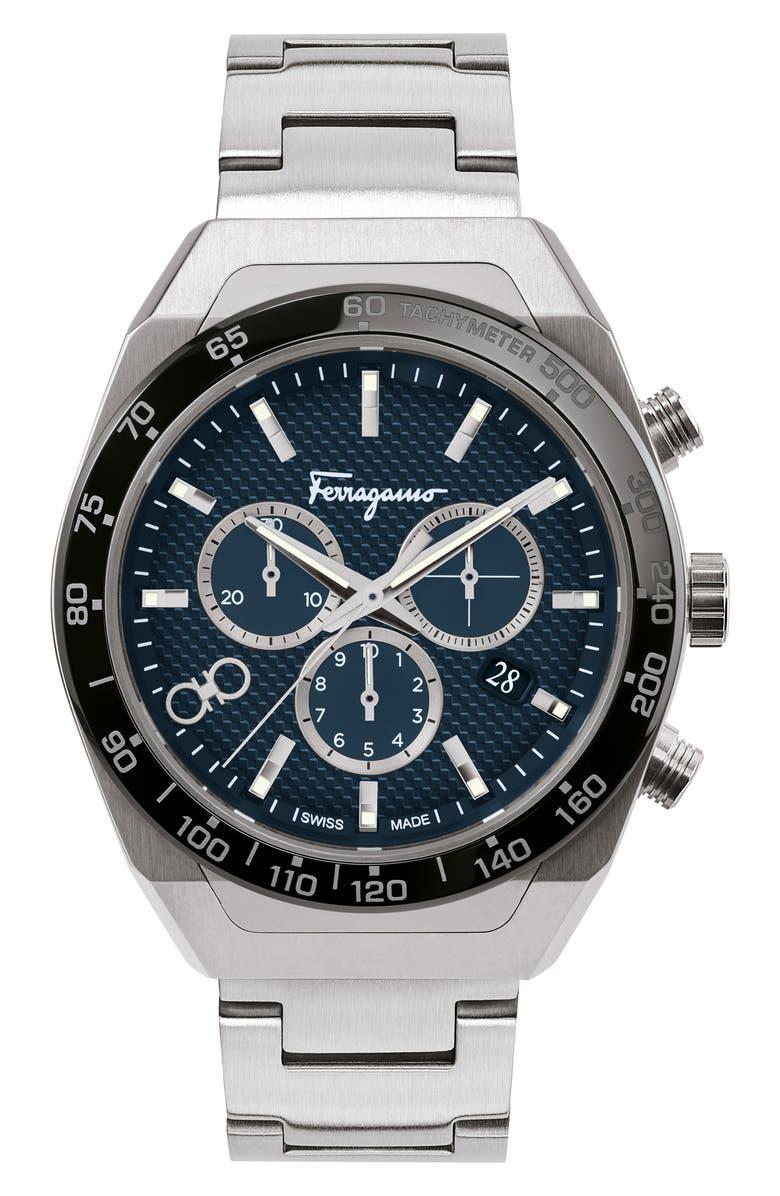 SALVATORE FERRAGAMO SLX Chronograph Bracelet Watch, Main, color, SILVER/ BLUE/ BLACK