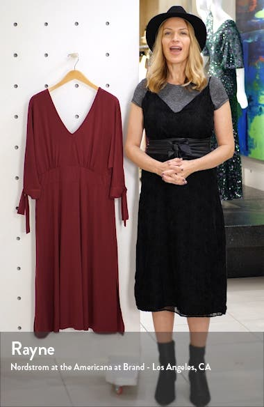 Tie Sleeve Stretch Matte Jersey Fit & Flare Dress, sales video thumbnail