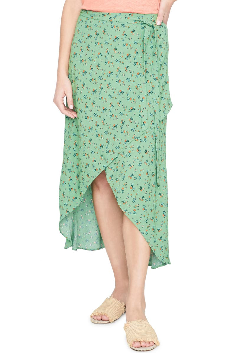 Jamie Faux Wrap Midi Skirt, Main, color, GO GREEN