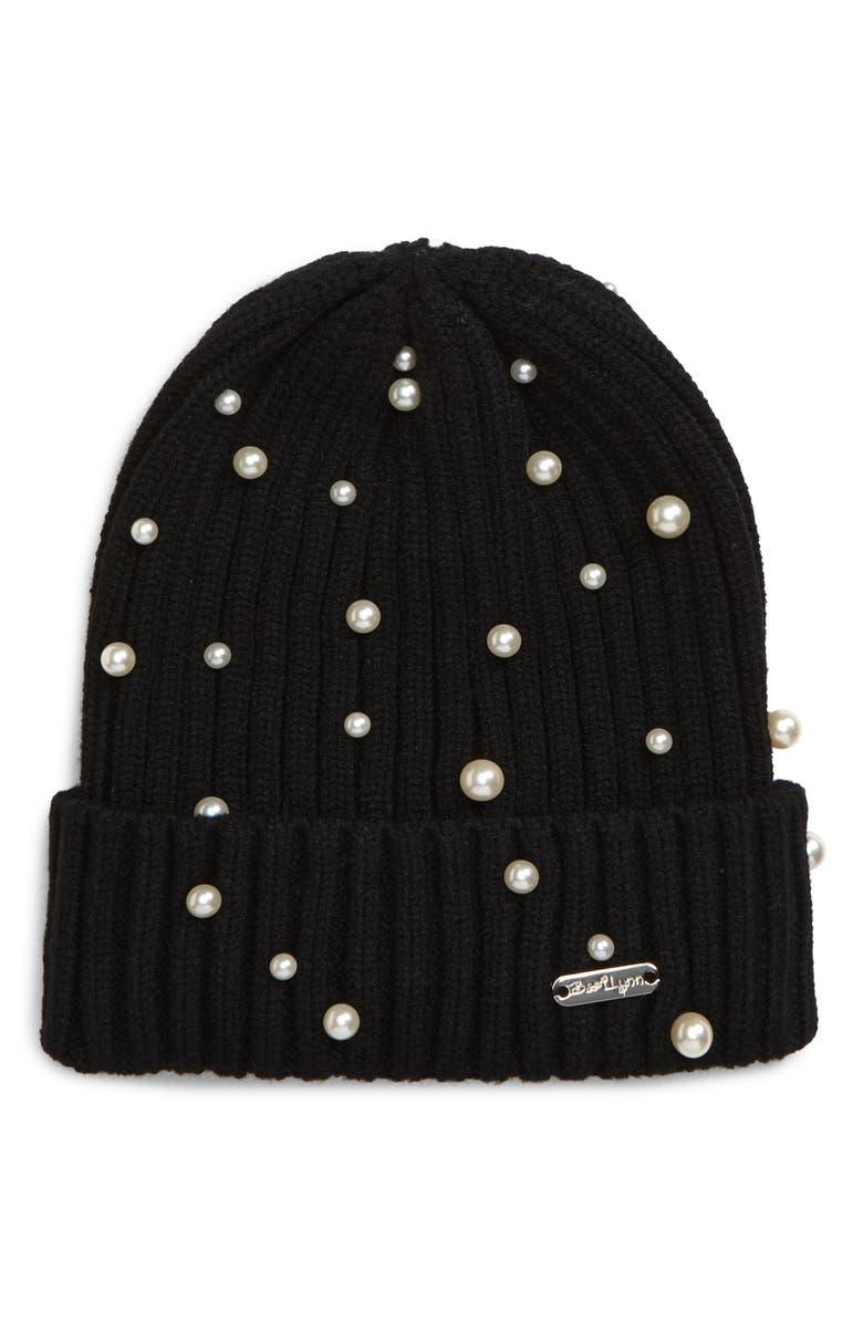 BARI LYNN Imitation Pearl Knit Hat, Main, color, BLACK