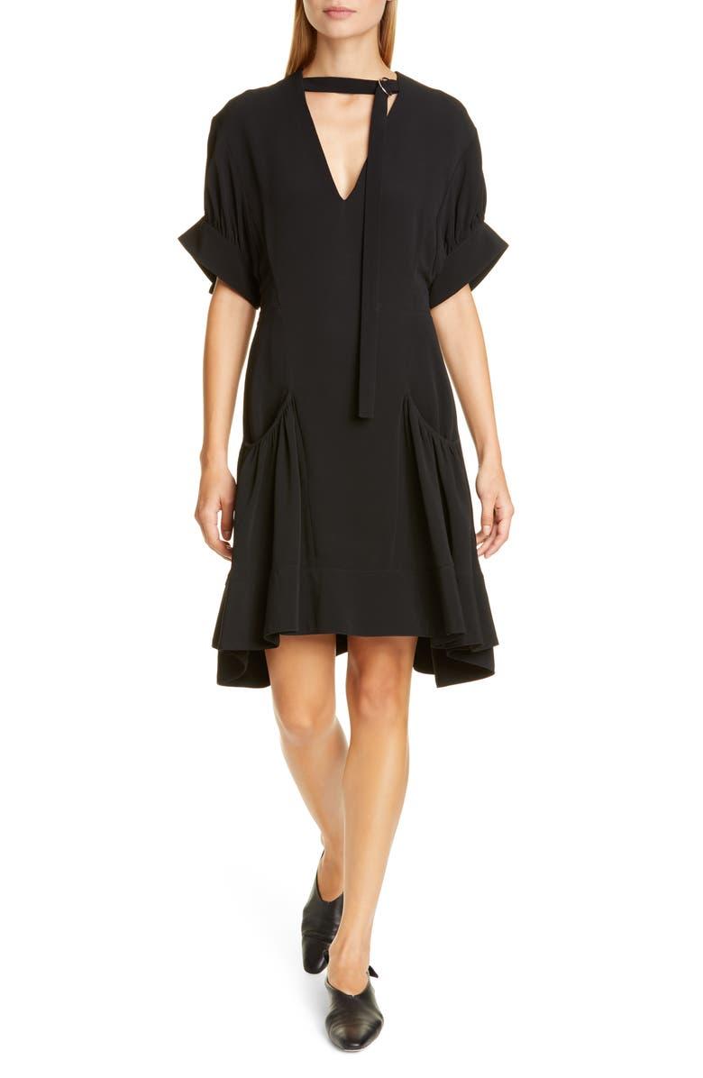 PROENZA SCHOULER Buckle Strap Short Sleeve Crepe Dress, Main, color, 001