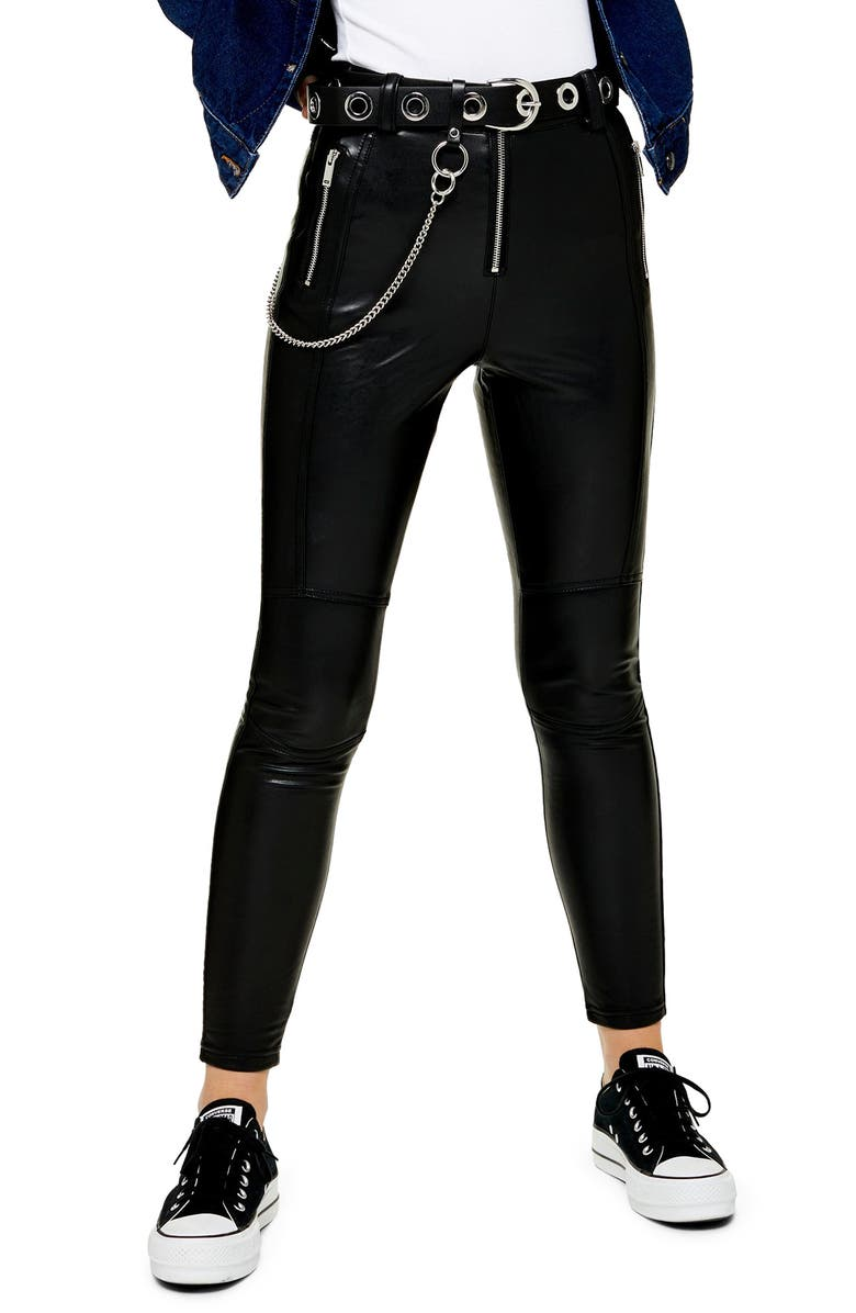 TOPSHOP Tammy Faux Leather Biker Pants, Main, color, BLACK