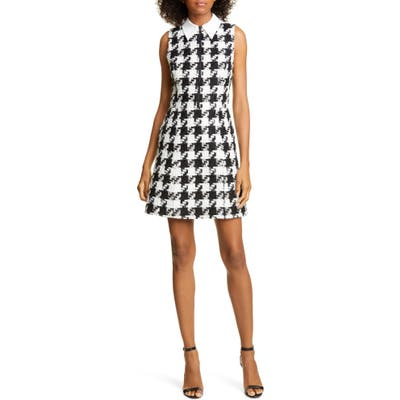 Alice + Olivia Ellis Houndstooth Zip Front Sleeveless Dress, Black
