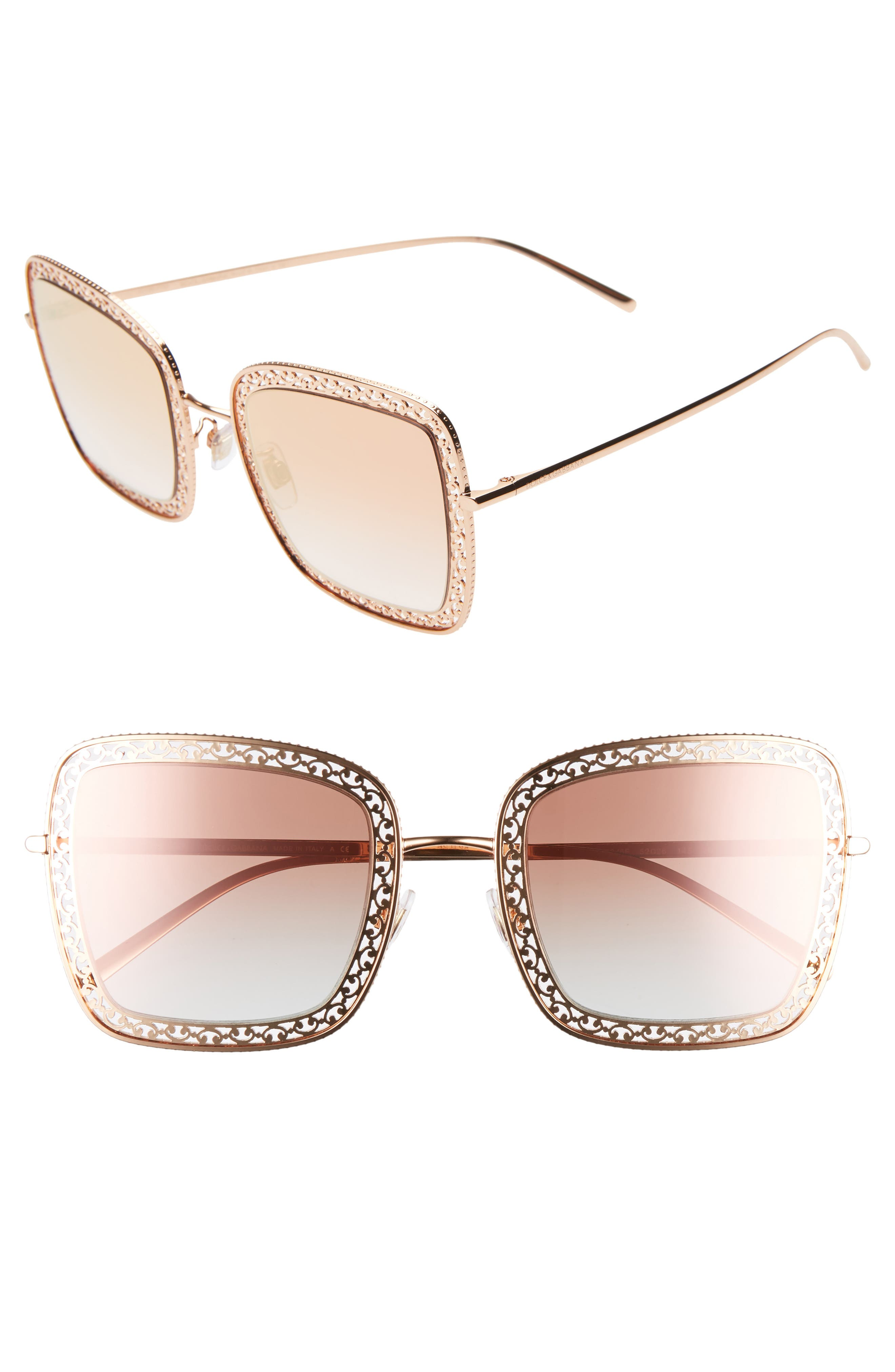 Dolce & gabbana 52Mm Square Sunglasses - Gold/ Pink