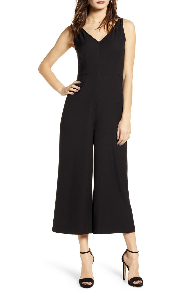 LEITH V-Neck Wide Leg Crop Jumpsuit, Main, color, BLACK