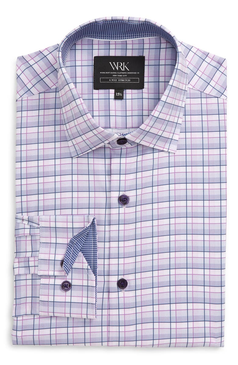 W.R.K Trim Fit Plaid Performance Stretch Dress Shirt, Main, color, LILAC