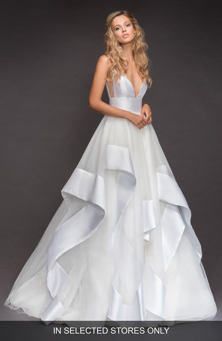 HAYLEY PAIGE Andi Sweetheart Mikado & Tulle Ballgown, Main, color, IVORY