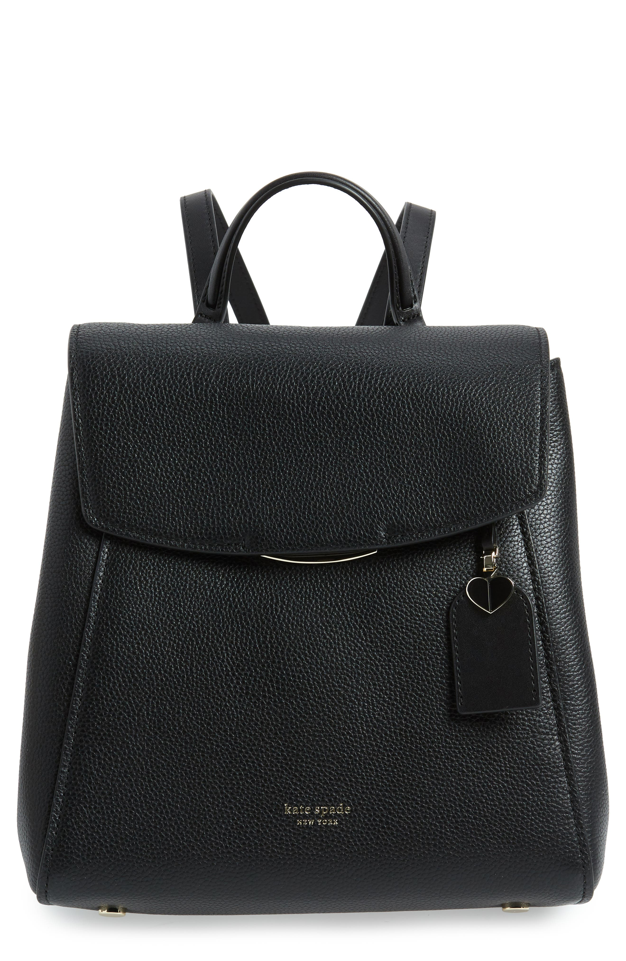 medium grace leather backpack, Main, color, BLACK