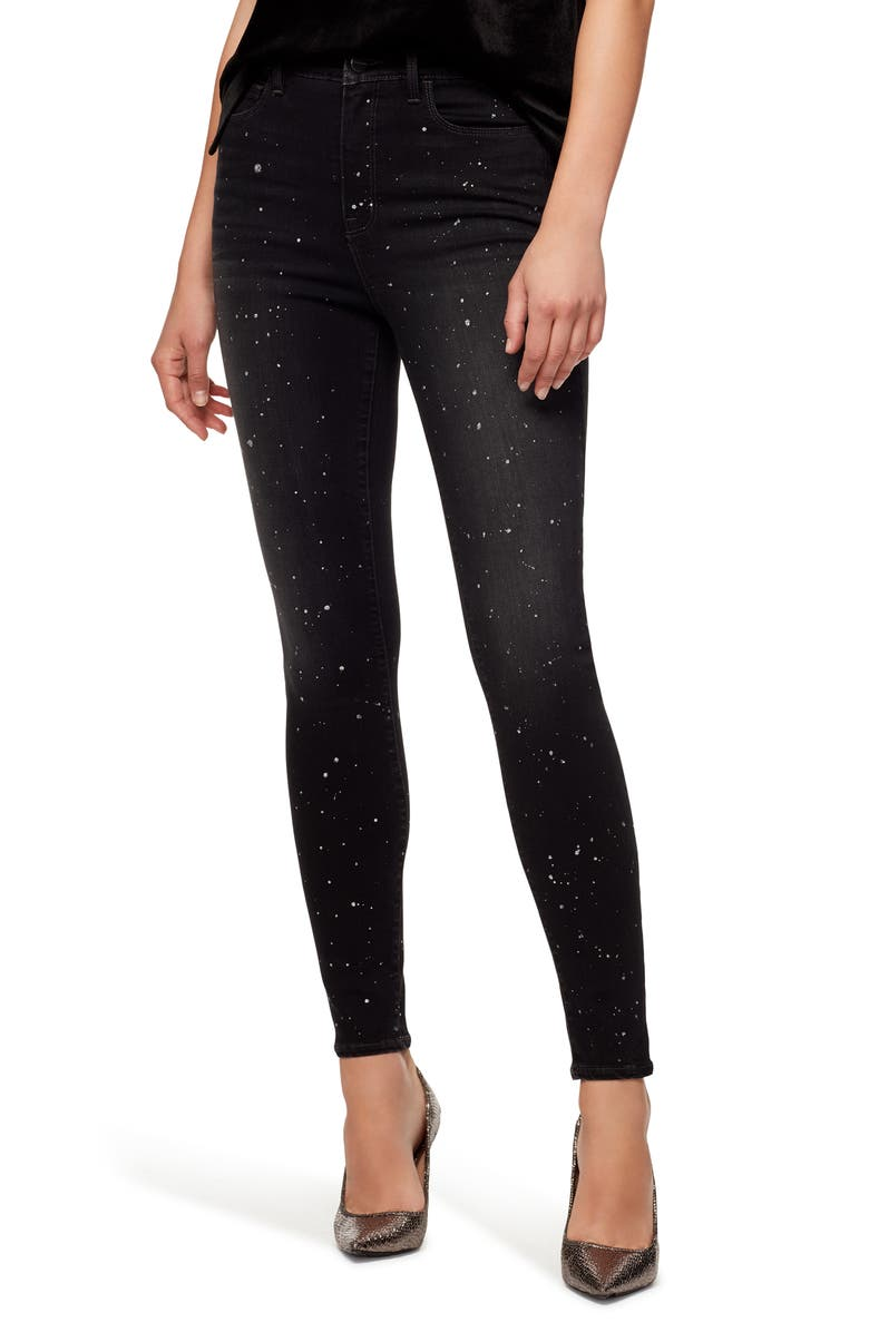 SANCTUARY Social Standard High Waist Metallic Fleck Skinny Jeans, Main, color, STARRY NIGHT