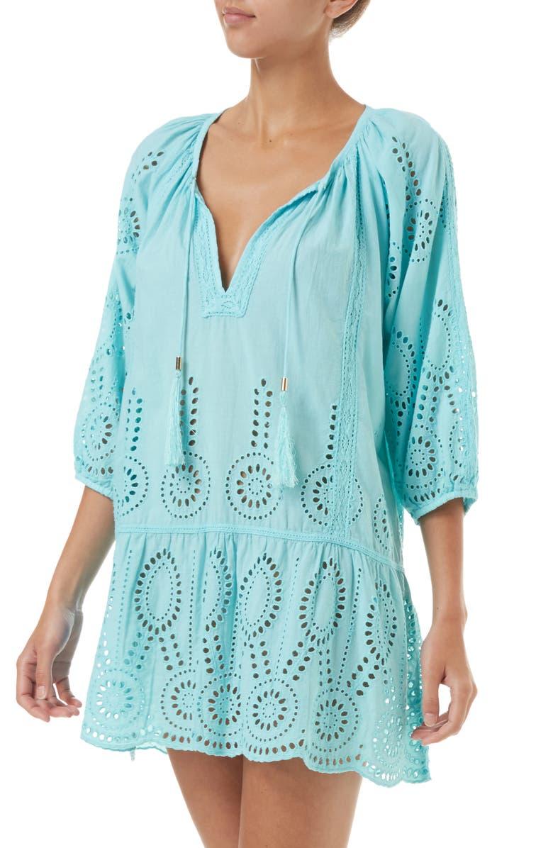 MELISSA ODABASH Ashley Eyelet Detail Cotton Cover-Up Tunic, Main, color, SKY