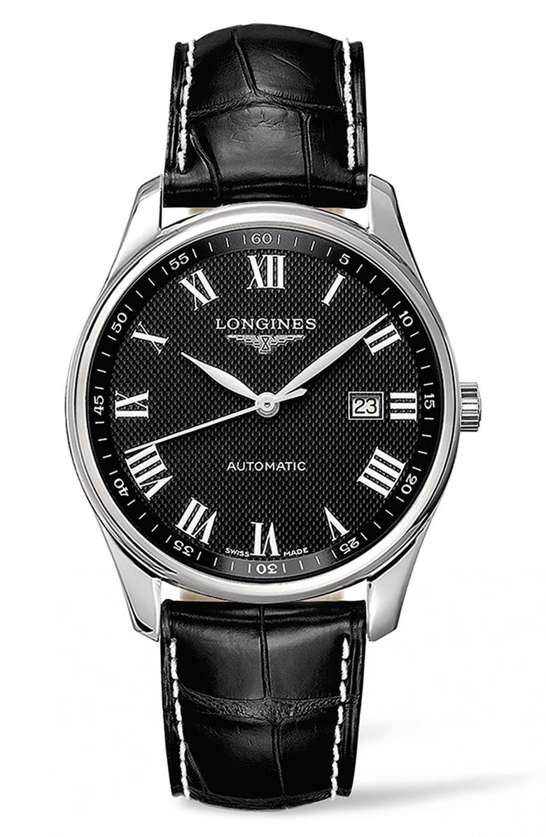 LONGINES Master Automatic Leather Strap Watch, 42mm, Main, color, BLACK/ SILVER