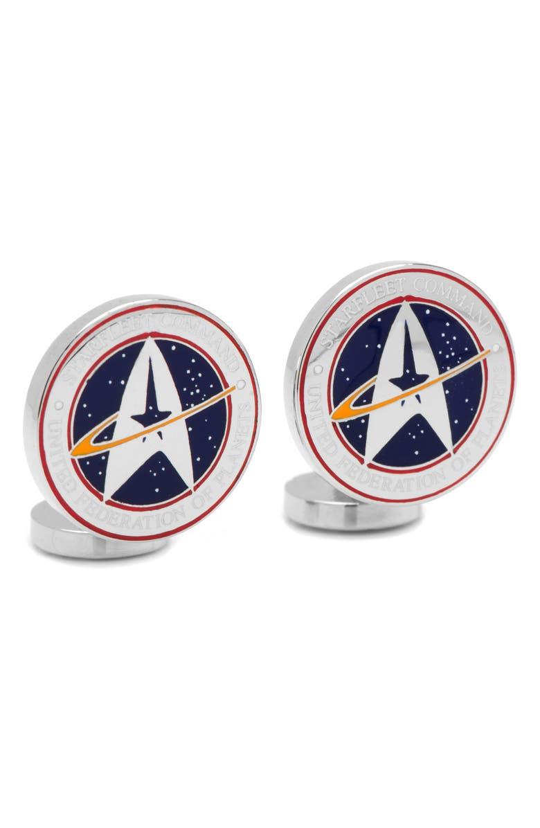 CUFFLINKS, INC. 'Star Trek' Starfleet Command Cuff Links, Main, color, SILVER