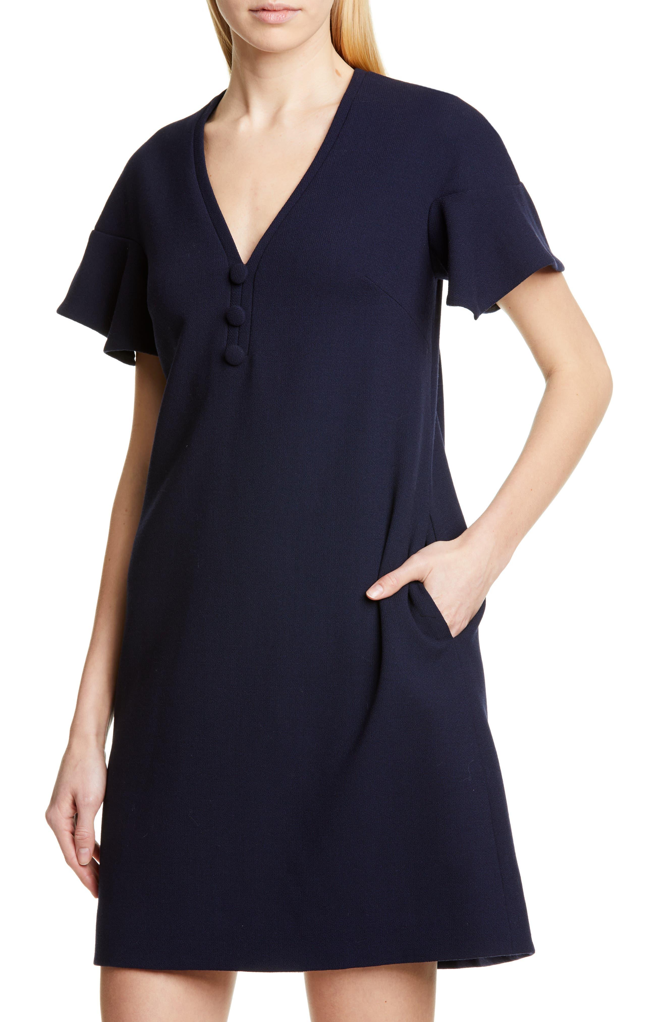 Lela Rose Dresses Handkerchief Sleeve Wool Blend Shift Minidress