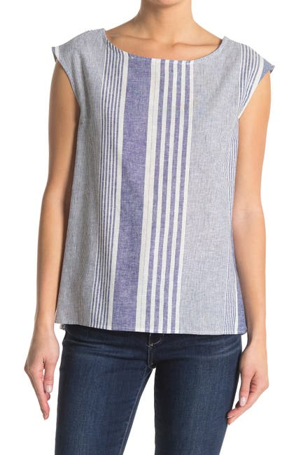 Image of Workshop Stripe Cap Sleeve Woven Top