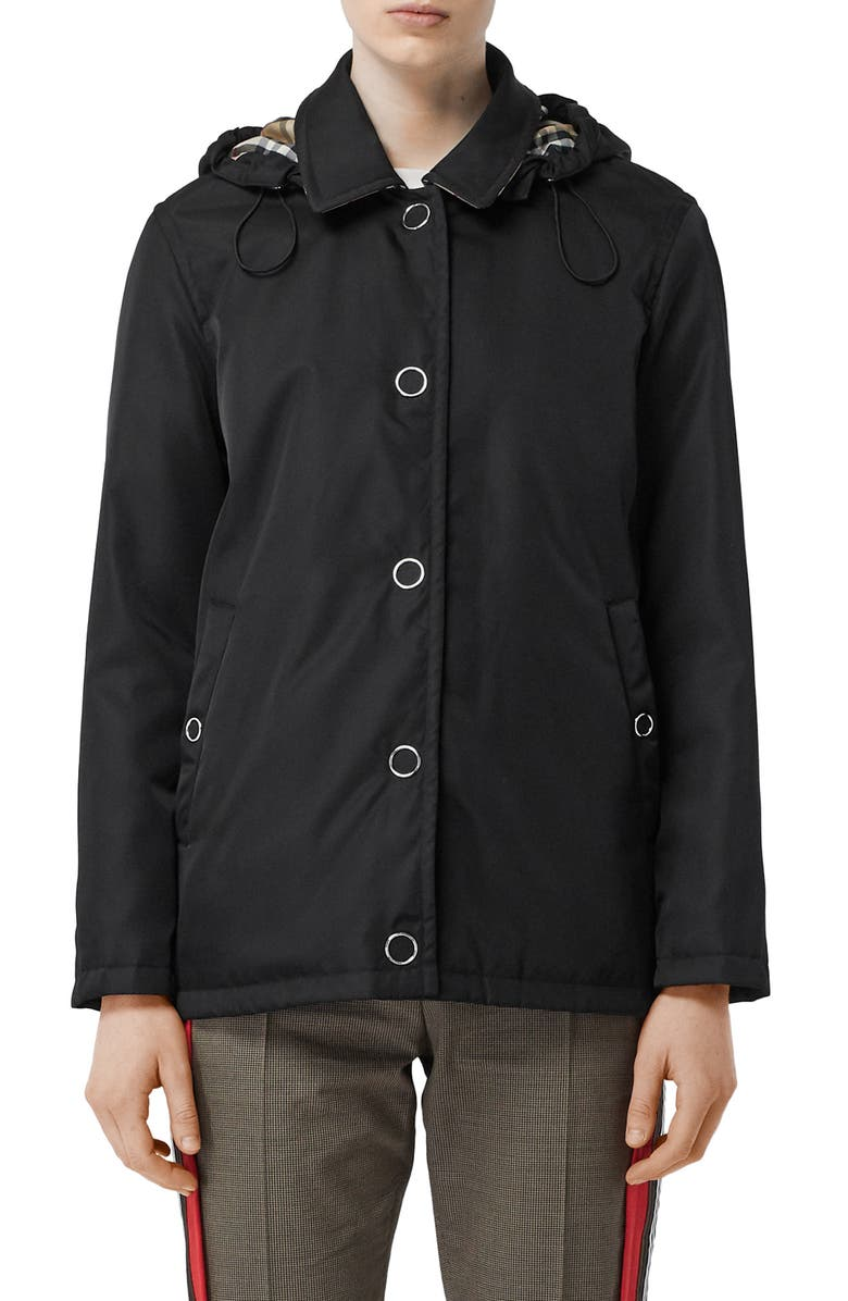 BURBERRY Southport Hooded Duffle, Main, color, BLACK