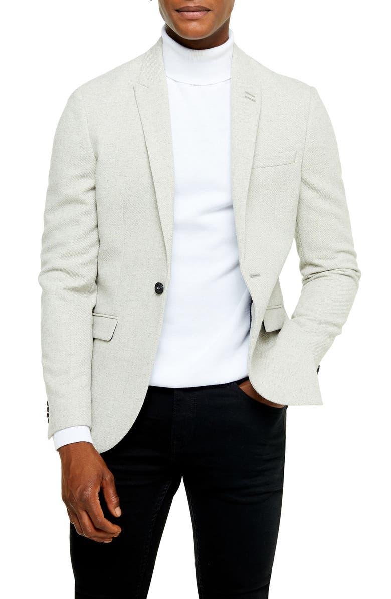 TOPMAN Slim Fit Twill Sport Coat, Main, color, GREY
