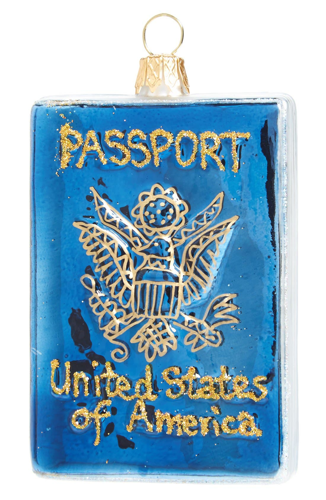 Celebrate your love of travel this holiday with a glass passport ornament handcrafted by Polish artisans and dusted with goldtone glitter for a sparkly finish. Style Name: Nordstrom At Home \\\'Usa Passport\\\' Ornament. Style Number: 1126144. Available in stores.