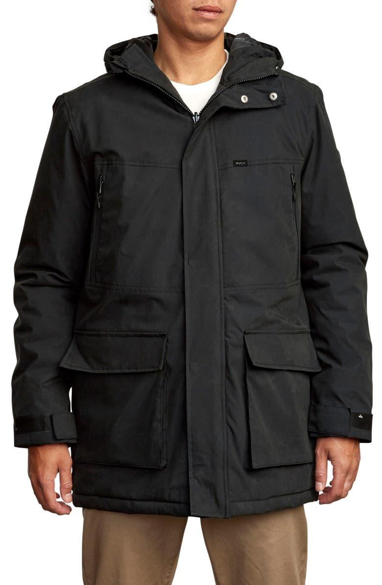 RVCA Patrol Water Resistant Hooded Parka, Main, color, 001