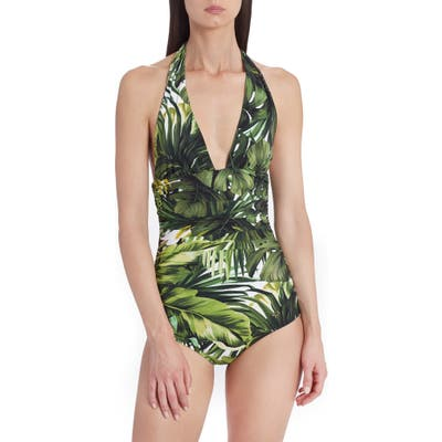 Dolce & gabbana Leaf Print One-Piece Swimsuit, Green