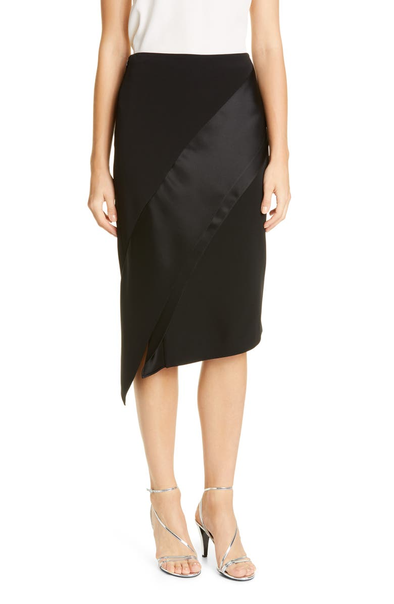 ST. JOHN EVENING Luxury Viscose Asymmetrical Skirt, Main, color, CAVIAR/ CAVIAR