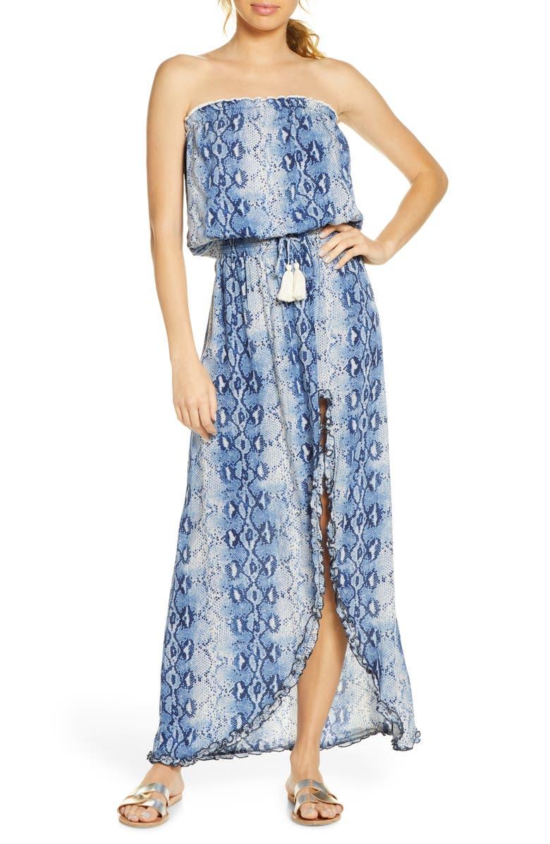 SURF GYPSY Snake Print Cover-Up Maxi Dress, Main, color, BLUE SNAKE SKIN