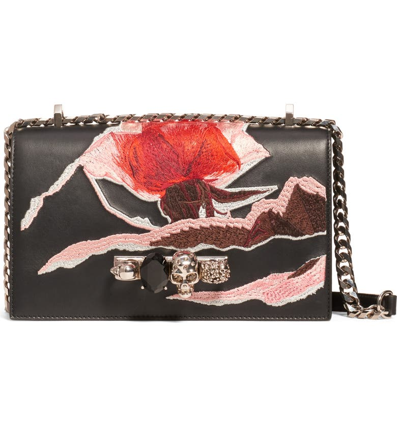 ALEXANDER MCQUEEN Embroidered Knuckle Ring Leather Crossbody Bag, Main, color, BLACK MULTI