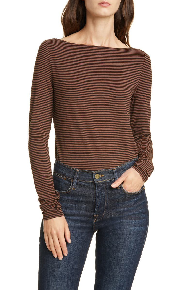 NORDSTROM SIGNATURE Long Sleeve Bateau Neck Tee, Main, color, BLACK- BROWN MINI STRIPE