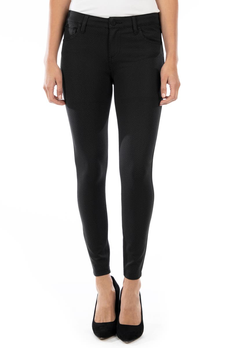 KUT FROM THE KLOTH Donna Ankle Skinny Ponte Pants, Main, color, BLACK/ GREY