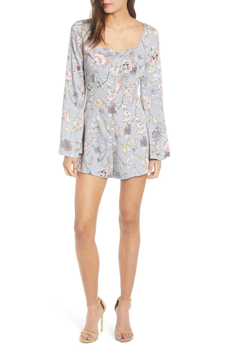 LOVE, FIRE Long Sleeve Romper, Main, color, MULTI