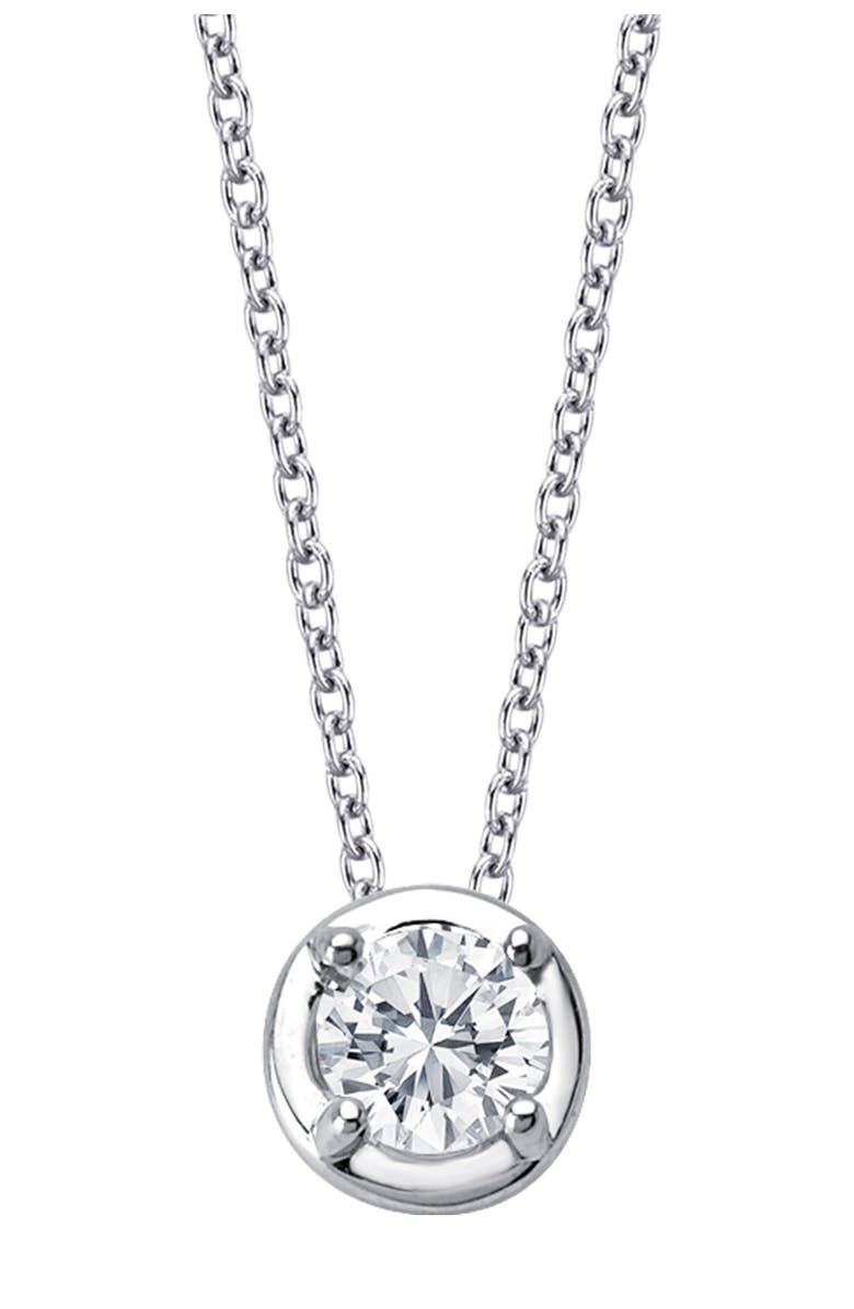 LAFONN Platinum Plated Sterling Silver Prong Set Simulated Diamond Solitaire Pendant Necklace, Main, color, WHITE, MORGANITE