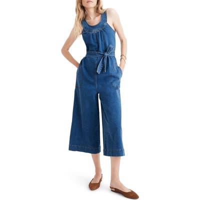 Madewell Halter Wide Leg Denim Jumpsuit