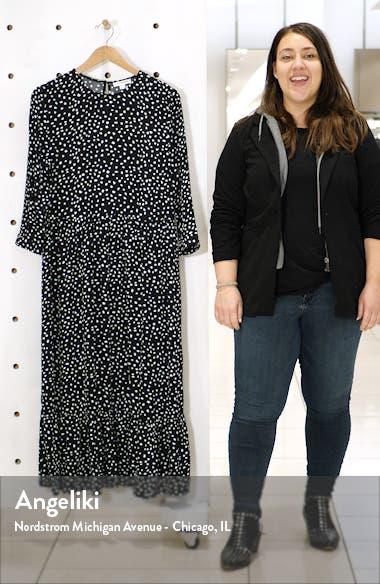 Pia Dot Pattern Long Sleeve Crepe Dress, sales video thumbnail