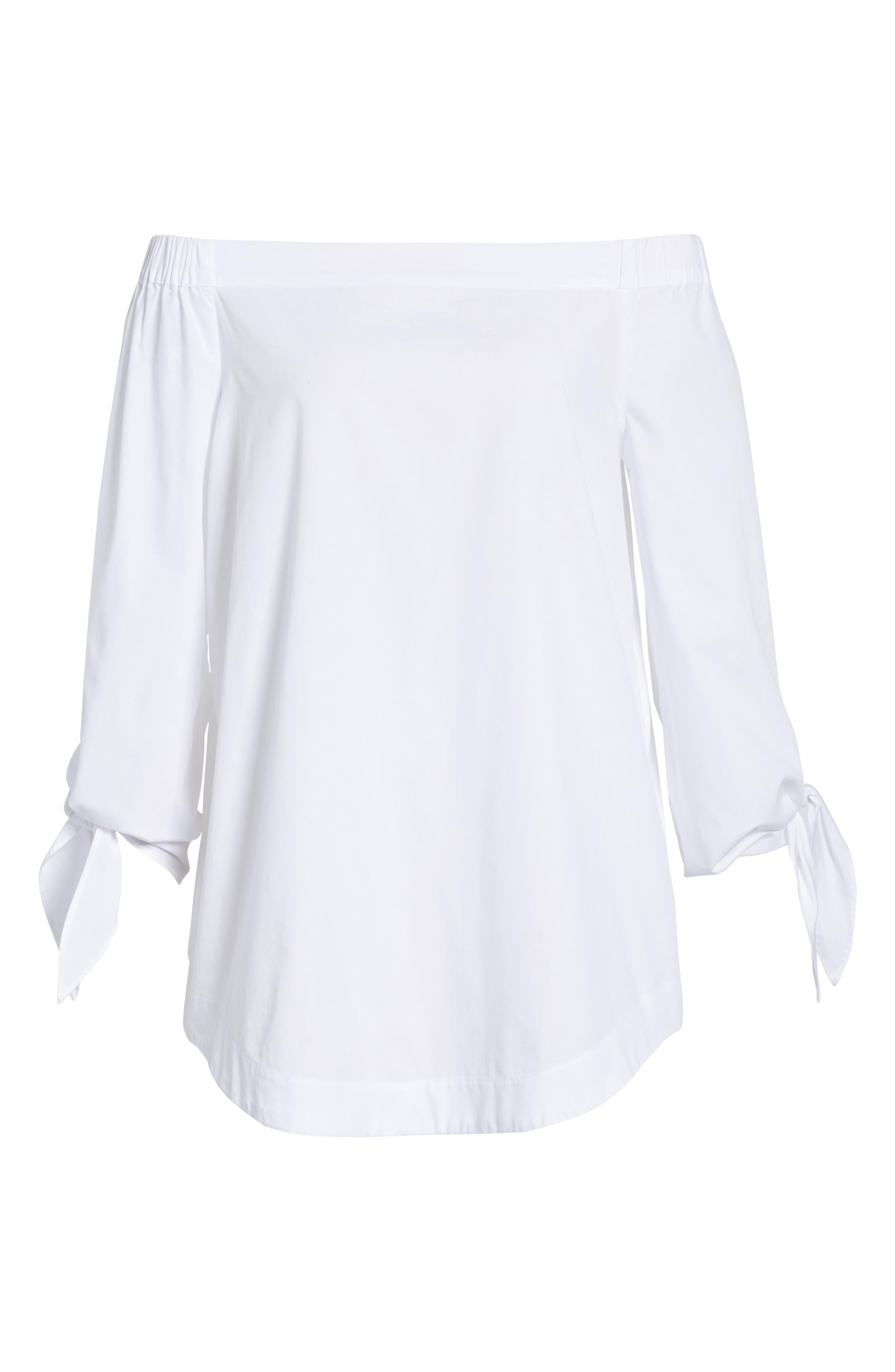 ,                             'Show Me Some Shoulder' Off the Shoulder Cotton Blouse,                             Alternate thumbnail 7, color,                             100