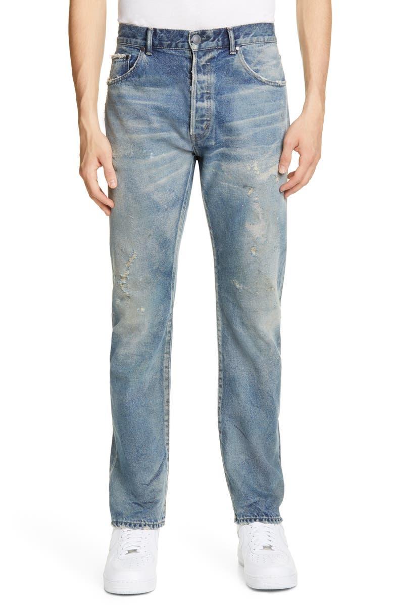 JOHN ELLIOTT John Elliot The Kane 2 Distressed Relaxed Straight Fit Jeans, Main, color, AVALON