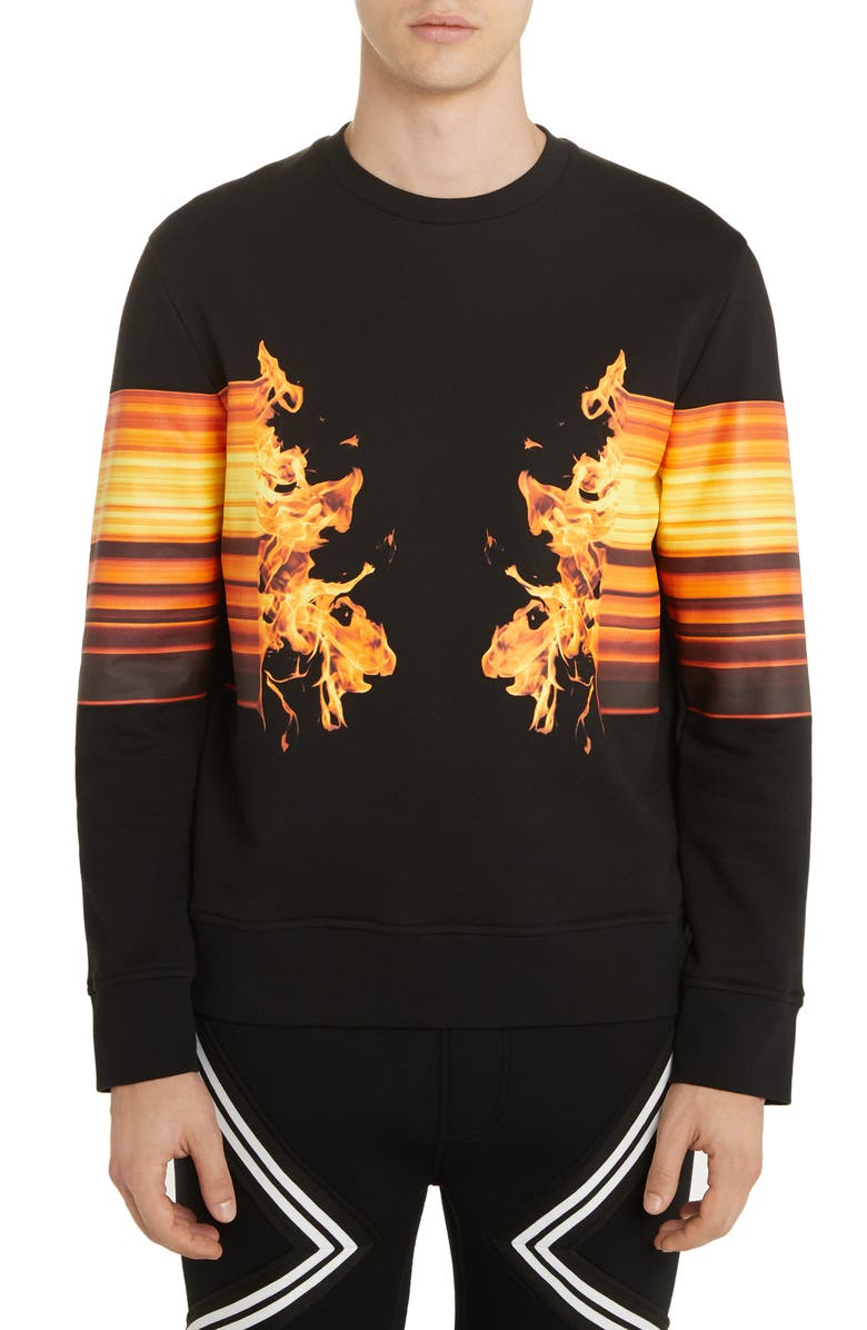 NEIL BARRETT Flame Graphic Sweatshirt, Main, color, BLACK/ ORANGE