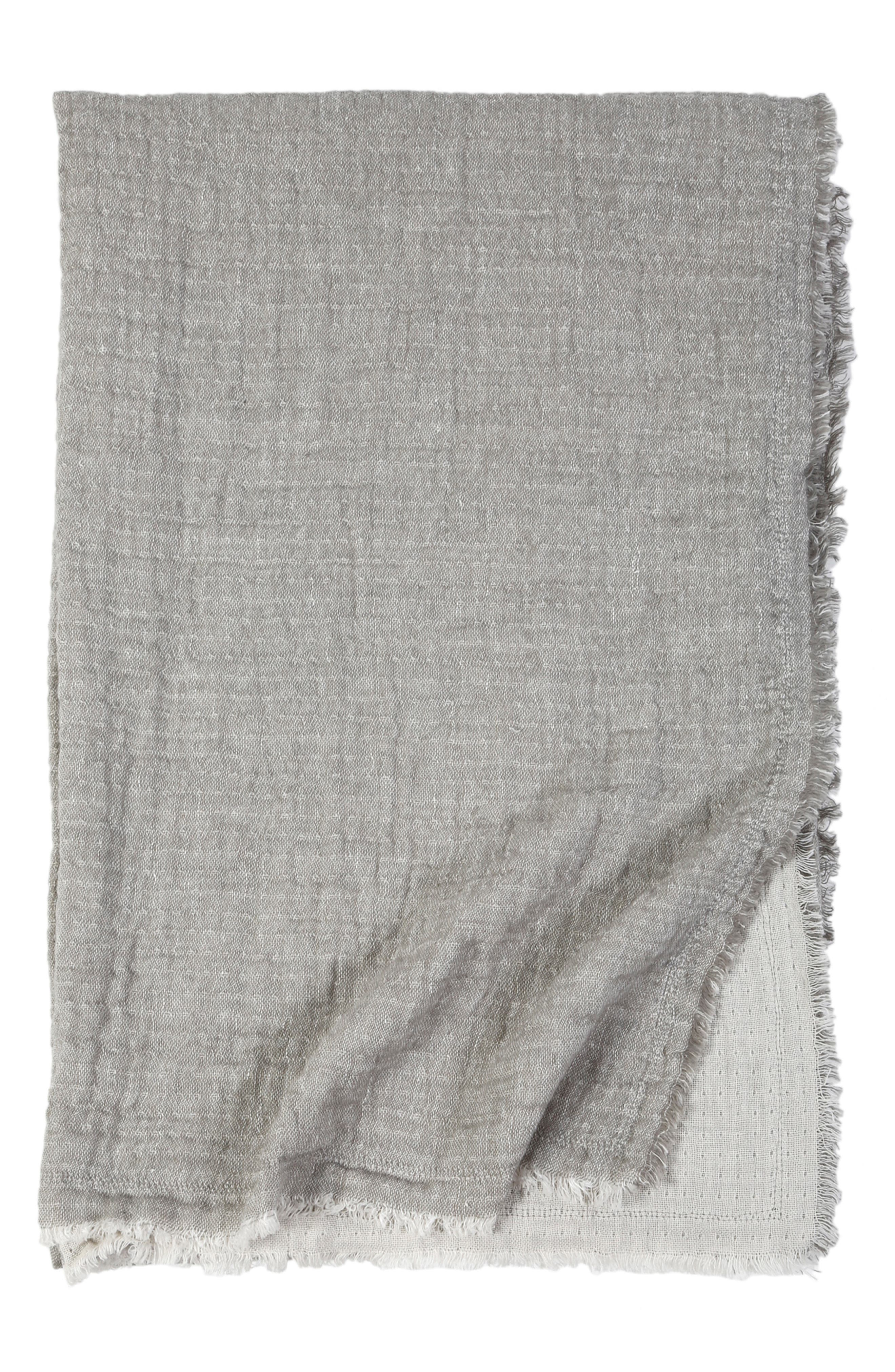 Hermosa Oversized Cotton & Linen Throw Blanket, Main, color, LIGHT GREY/ CREAM