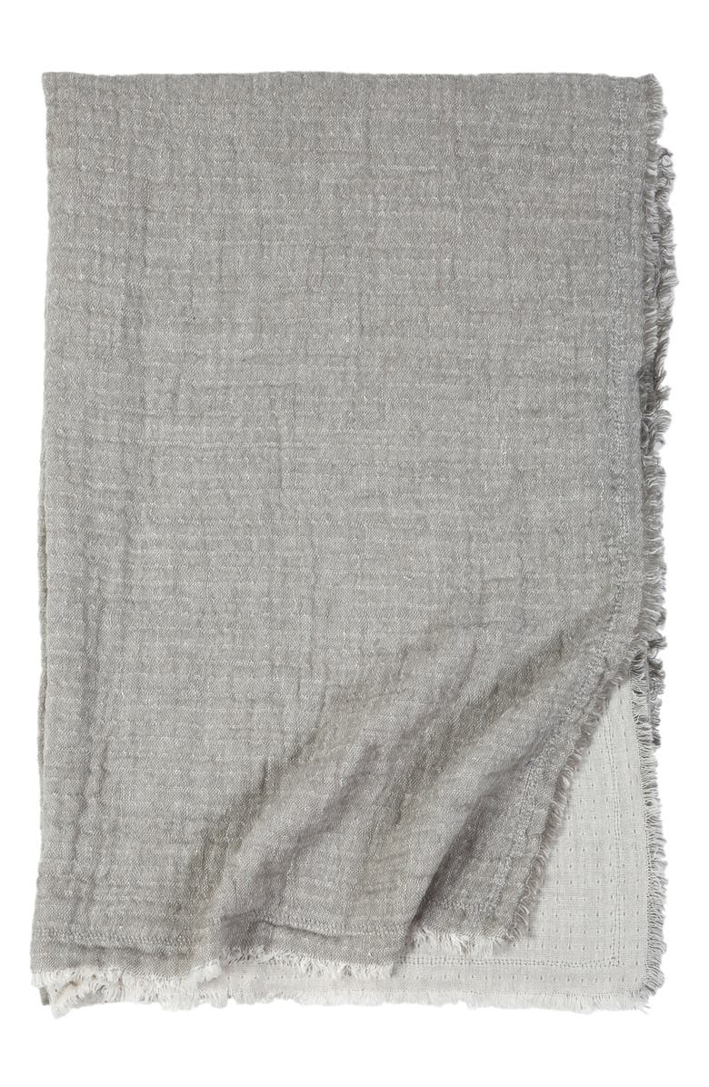 POM POM AT HOME Hermosa Oversized Cotton & Linen Throw Blanket, Main, color, LIGHT GREY/ CREAM